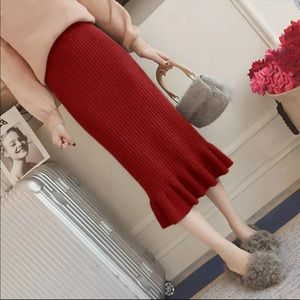 Dresses & Skirts - New Knitted Fishtail Pencil Ruffle Skirt Red